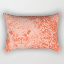 Ghostly alpaca and mandala in Fiesta Red Rectangular Pillow