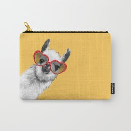 Fashion Hipster Llama with Glasses Carry-All Pouch