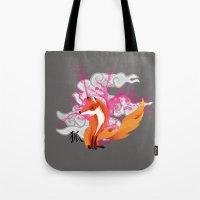 kitsune Tote Bags featuring Kitsune by Mazuki Arts