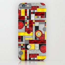 Stained Glass Window - Color Blocking - Red Black Yellow iPhone Case