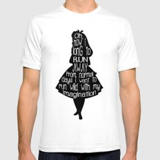 Alice In Wonderland - Quote - black and white SMALL White Mens Fitted Tee
