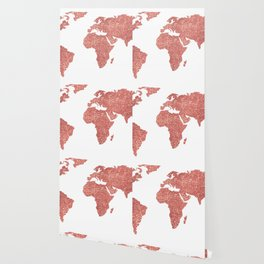 World Map Rose Gold Glitter Wallpaper