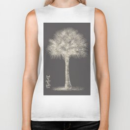 Palm tree - botanical silver illustration Biker Tank
