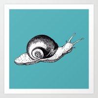 snail Art Prints featuring Snail by Aubree Eisenwinter