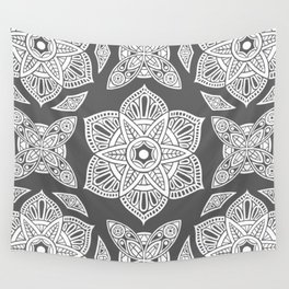 Floral Lotus Mandala Grey Wall Tapestry