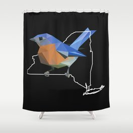New York - Eastern Bluebird (Black) Shower Curtain