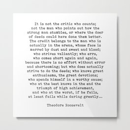 Man In The Arena Theodore Roosevelt Quote Metal Print