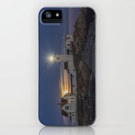 Full moon rising over Eastern point Lighthouse. iPhone Case