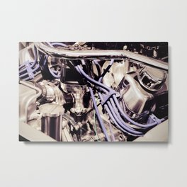 Car Motor Silver and Purple Metal Print
