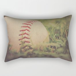 Used Baseball in Grassy Field wth Aged Effect Rectangular Pillow
