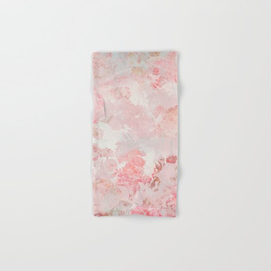 Vintage Floral Rose Roses painterly pattern in pink on #Society6 Hand & Bath Towel