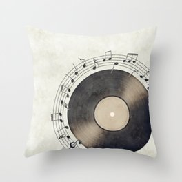 Vinyl Music Collection Throw Pillow