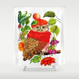 Charming Owl Shower Curtain