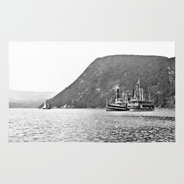 19th Century Steamboats, Anthony's Nose, Lake George Rug