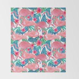 Tropical Flamingo Watercolor Floral Throw Blanket