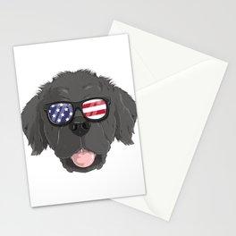 Patriotic Newfoundland Dog Merica American Flag Stationery Cards