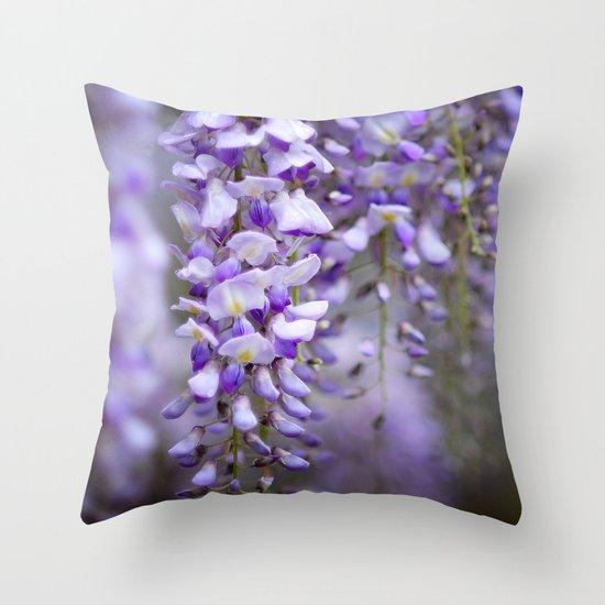 Wisteria on a rainy spring day Throw Pillow