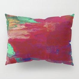 Crimson Overflow - Abstract, red, crimson, green, purple oil painting Pillow Sham