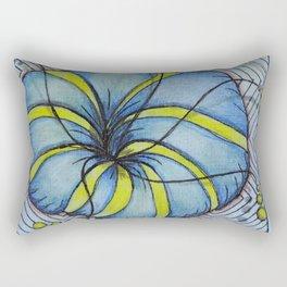 Zentangle Blue Yellow Flower Rectangular Pillow
