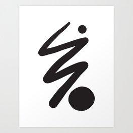 Black Line and Circle  Art Print