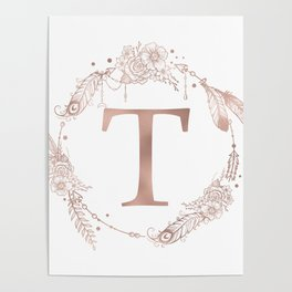 Letter T Rose Gold Pink Initial Monogram Poster