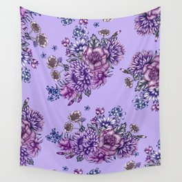 Vintage Purple Florals Wall Tapestry