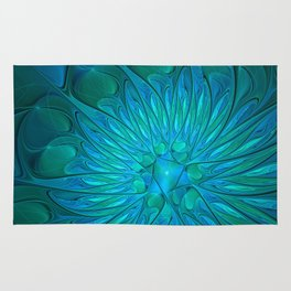 Floral in Sea Colors Rug