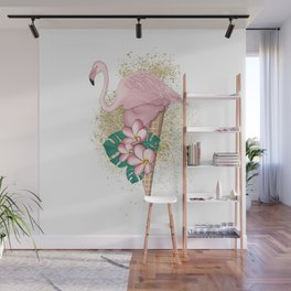 Flamingo Ice Cream With Gold Wall Mural
