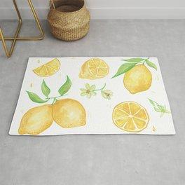 Juicy Watercolor Lemons and Lemon Slices Rug