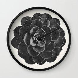 Succulent Black Marble Wall Clock