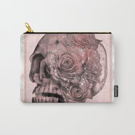 Rose Gold Marble Sparkle Skull Carry-All Pouch
