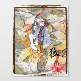 Nine tailed fox kitsune spirit in a form of human kimono girl Canvas Print