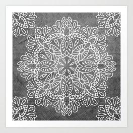 Mandala Vintage White on Ocean Fog Gray Art Print