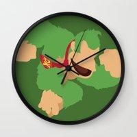 donkey kong Wall Clocks featuring Donkey Kong(Smash)Green by ejgomez