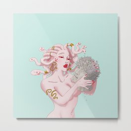An Albino Medusa with the head of her latest victim Metal Print