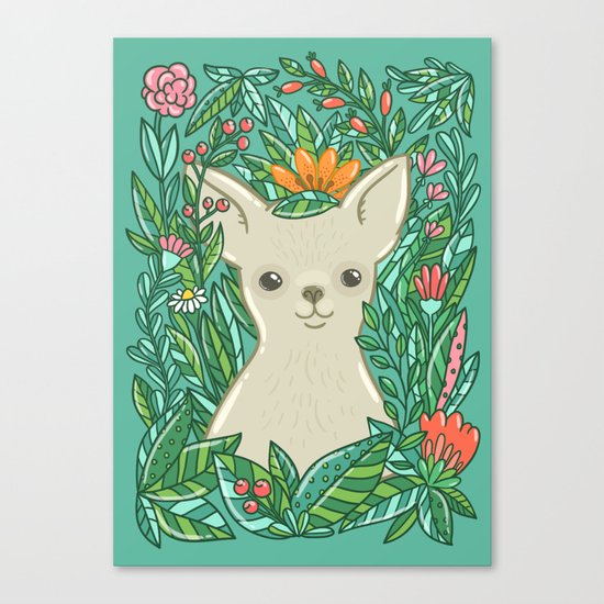 Chihuahua in the flowers Canvas Print