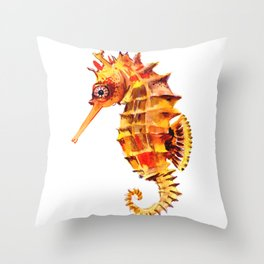 Seahorse decor orange red beach house design Throw Pillow