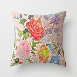 Spring Floral - Painterly Throw Pillow