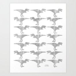 Dinomania Silver Art Print