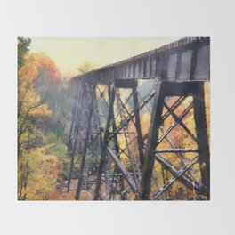 Upper Peninsula Train Trestle Throw Blanket