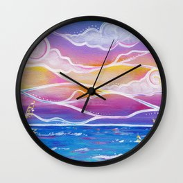 cotton candy sunset Wall Clock