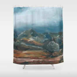 Storm brewing over rural landscape Shower Curtain
