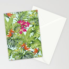 Bird of Paradise Greenery Aloha Hawaiiana Rainforest Tropical Leaves Floral Pattern Stationery Cards