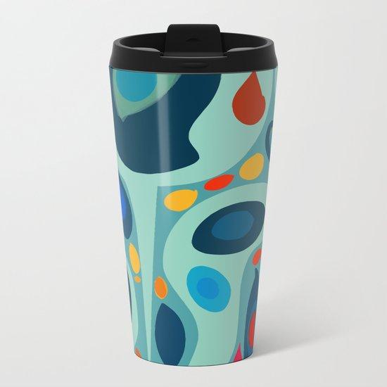 Blue Abstract Pattern sealife Metal Travel Mug