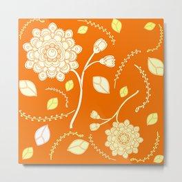 Flying Flowers in orange Metal Print