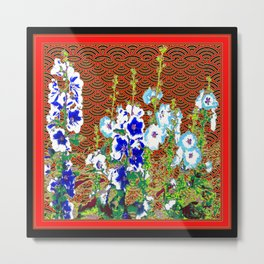 Abstracted Blue & Pink Flowers & Red-Black Oriental Patterns Metal Print