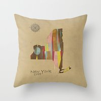 new york map Throw Pillows featuring new york state map by bri.buckley