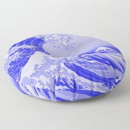 Cobalt Blue Porcelain Glaze Japanese Great Wave Floor Pillow