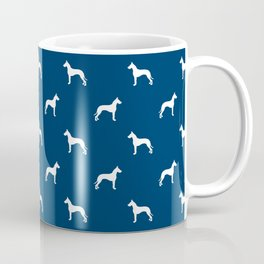 Great Dane dog breed pattern minimal simple navy and white great danes silhouette Coffee Mug