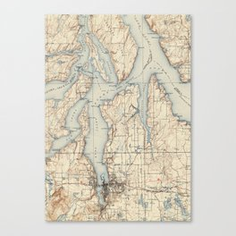 Vintage Map of The Puget Sound (1934) Canvas Print